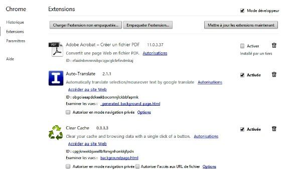 Gérer les extensions de Google Chrome