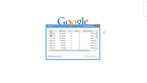 Gestionnaire des tâches Google Chrome