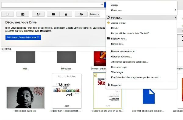 Partager en 1 clic avec Google Drive