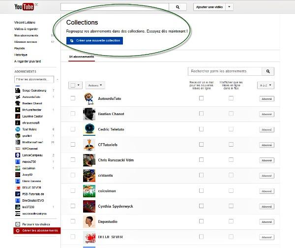 Créer une collection avec Youtube