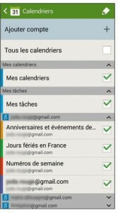 S Planner et les paramètres des calendriers