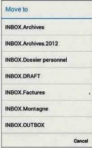 Classer le courrier dans des dossiers
