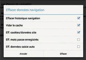 Supprimer l'historique et données de navigation