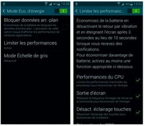 Le Galaxy S5 et son mode Économie d'énergie