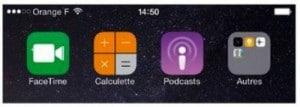 Dans l'écran supplémentaire, l'élément Autres, à droite, est un dossier contenant quatre applications