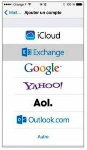 L'écran d'ajout d'un compte. Sélectionnez Microsoft Exchange