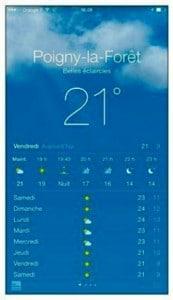 L'application météo de l'iPhone prévoit un temps couvert