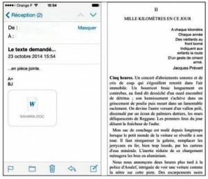 À gauche, une pièce jointe au format Word. À droite, la lecture du fichier Word (un texte de plus de 40 pages