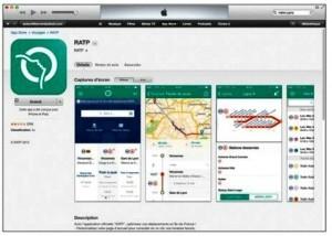 Le descriptif de l'application gratuite RATP