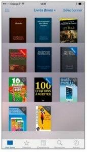 Une collection de livres intitulée « Manuels » contient les modes d'emploi de l'iPhone, de plusieurs appareils photo, d'un flash, d'un GPS routier, etc., tous au format PDF