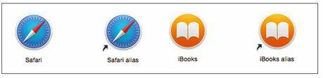 Les alias de deux applications d'OS X