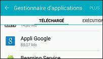 Recherchez l'application Appli Google
