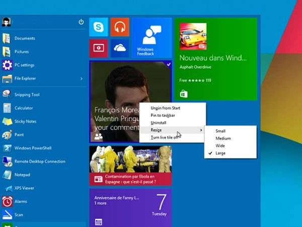 Organiser les tuiles de Windows 10