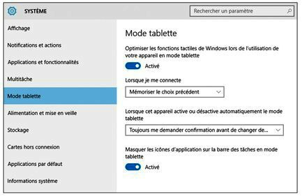 tutoriel windows 10 activer le mode tablette. Black Bedroom Furniture Sets. Home Design Ideas