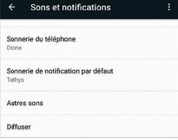 Sons et notifications du téléphone