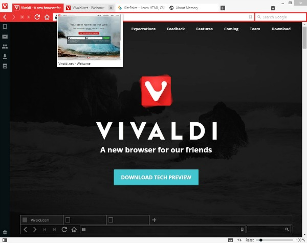 Navigateur Internet Vivaldi Technical Preview