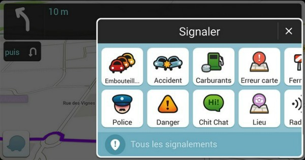 Signaler les incidents-Waze