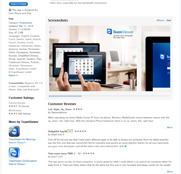 Installer teamviewer remote control pour ipad