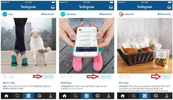 Les boutons de l'interface de l'appli Instagram