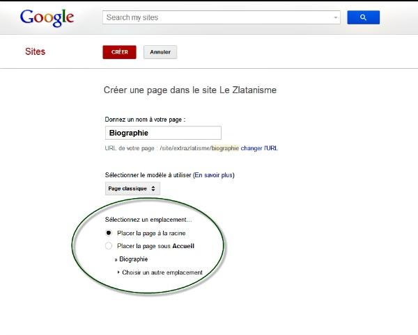 Ajouter une page avec Google sites