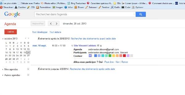 Consulter le planning avec Google Agenda