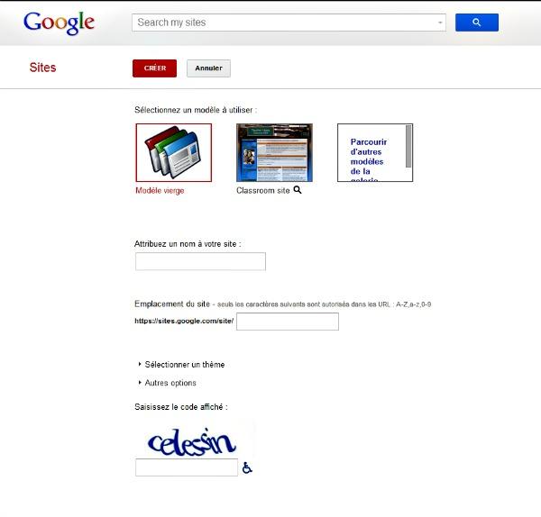 Créer un site web avec Google sites