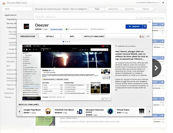 L'appli Deezer dans le web store