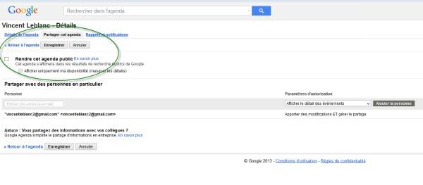 Partager l'agenda Google