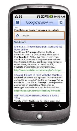 Traduire avec Google Googles
