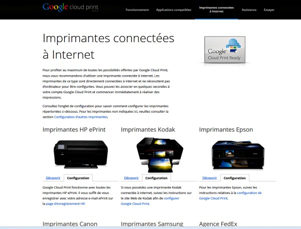 configurer une imprimante Cloud Print