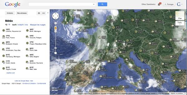 consulter la météo avec Google maps