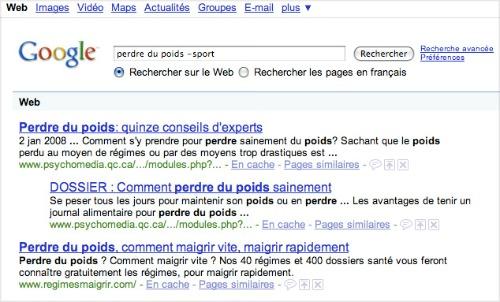 exclure des mots avec la recherche google