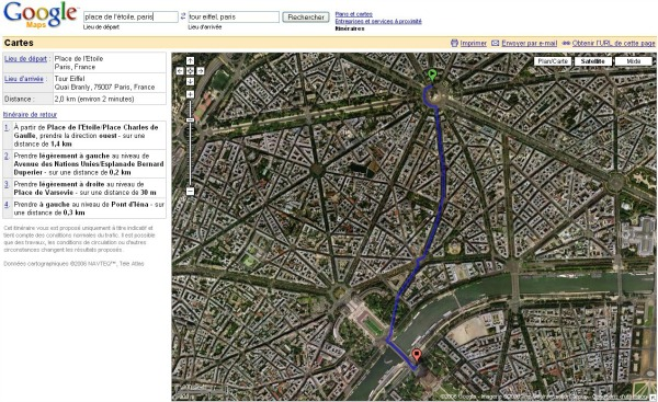 itinéraire vue aérienne Google Maps
