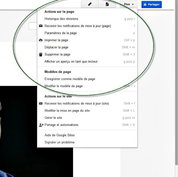 modifier une page avec Google site