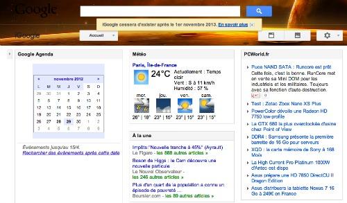 Paramètres de Google now