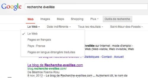 recherche Google par langues