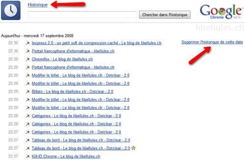 recherche google dans l'historique