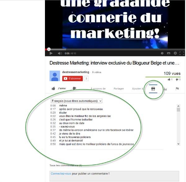 Afficher la transcription des dialogues sous une vidéo Youtube