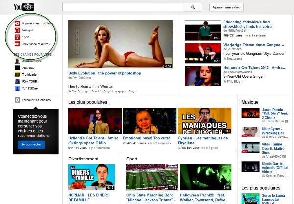 Youtube propose des sélèctions thematiques