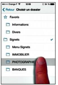 Deplacer un signet vers un dossier