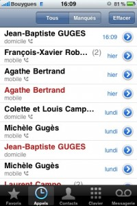 appels manqués iphone 5