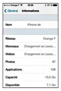 les informations de l'iphone 5