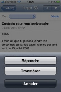 repondre à un message iphone 5