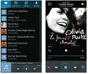 Une bibliothèque musicale enregistrée sur le Galaxy Note 3