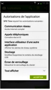 Autorisation de l application
