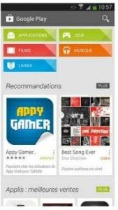 La page d'accueil de Google Play Store