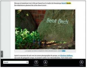 La recherche d'un mot dans un site avec l'application Internet Explorer de l'écran d'accuei