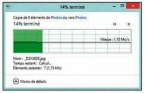 Windows décompresse les fichiers