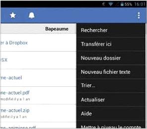 Copier un fichier vers Dropbox
