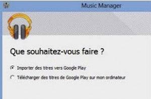 Importer la musique avec Music Manager